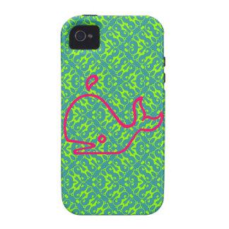 Rosa lindo de la ballena en el damasco verde iPhone 4 funda