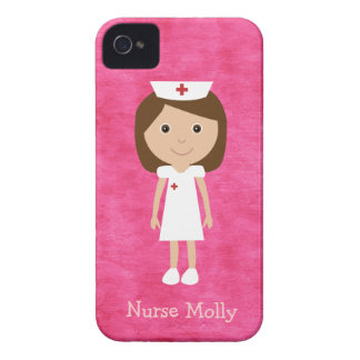 Rosa lindo de la enfermera del dibujo animado iPhone 4 Case-Mate cárcasas