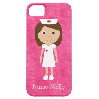 Rosa lindo de la enfermera del dibujo animado iPhone 5 carcasas