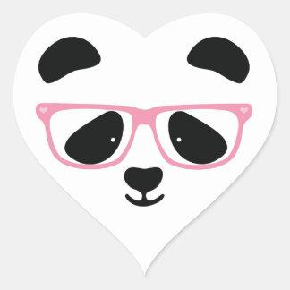 Rosa lindo de la panda pegatina de corazon personalizadas