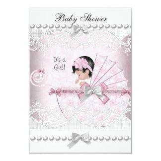 Rosa lindo del bonito del chica de la fiesta de invitación 8,9 x 12,7 cm