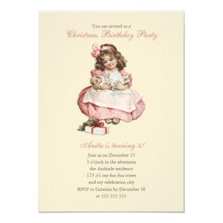 Rosa lindo del chica del vintage de la fiesta de comunicado personalizado