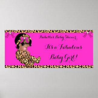 Rosa lindo del leopardo del chica del bebé fabulos