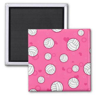 Rosa lindo del modelo del voleibol imán cuadrado