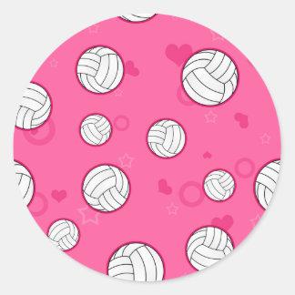 Rosa lindo del modelo del voleibol pegatina redonda
