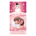 Rosa lindo del muñeco de nieve del primer navidad  tarjetas personales con fotos