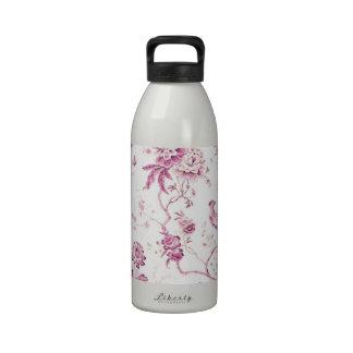 Rosa lindo del pájaro del vintage floral botellas de beber