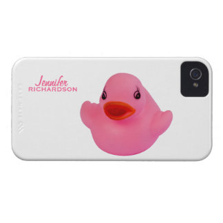 Rosa lindo del pato de goma, chicas de encargo iPhone 4 protector