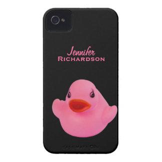 Rosa lindo del pato de goma, diversión, novedad, iPhone 4 Case-Mate carcasas