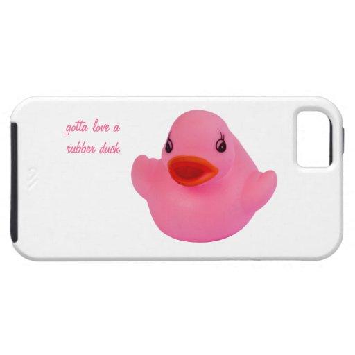Rosa lindo del pato de goma, diversión, novedad, iPhone 5 fundas