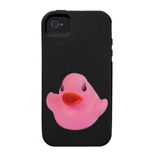 Rosa lindo del pato de goma, diversión, novedad, r iPhone 4 funda