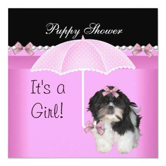 """Rosa lindo del perro de la ducha del perrito invitación 5.25"""" x 5.25"""""""