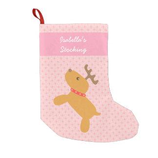 Rosa lindo del reno del navidad para los chicas calcetín de navidad pequeño