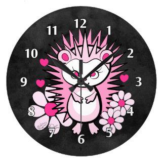 Rosa lindo femenino del erizo reloj redondo grande