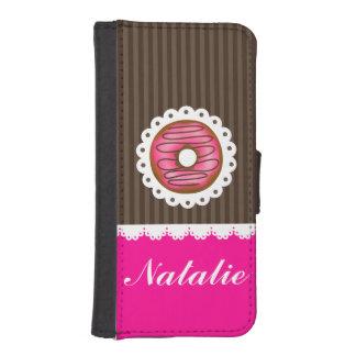 Rosa lindo femenino y nombre personalizado buñuelo funda tipo billetera para iPhone 5