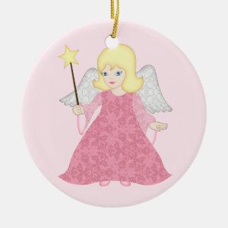 Rosa lindo personalizado ornamento del ángel del adorno navideño redondo de cerámica
