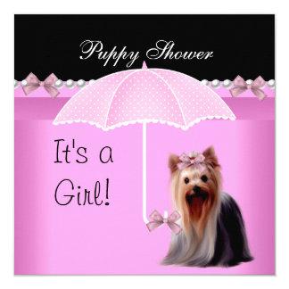 """Rosa lindo Yorkie 2 del perro de la ducha del Invitación 5.25"""" X 5.25"""""""