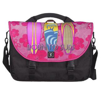 Rosa llevado para practicar surf bolsas de portatil