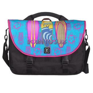 Rosa llevado para practicar surf bolsas para portatil