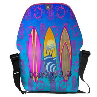Rosa llevado para practicar surf bolsa de mensajeria