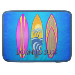 Rosa llevado para practicar surf fundas para macbooks