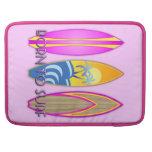 Rosa llevado para practicar surf funda para macbooks