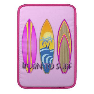 Rosa llevado para practicar surf fundas macbook air