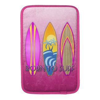 Rosa llevado para practicar surf fundas para macbook air