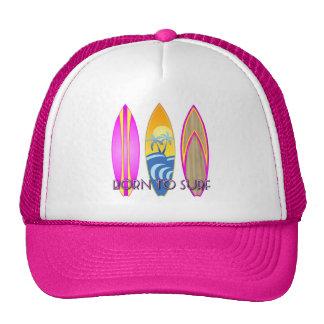 Rosa llevado para practicar surf gorra