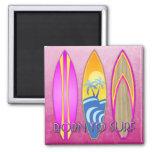 Rosa llevado para practicar surf imanes