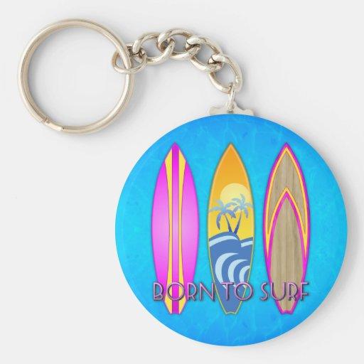 Rosa llevado para practicar surf llavero redondo tipo pin