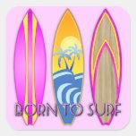 Rosa llevado para practicar surf pegatina cuadradas