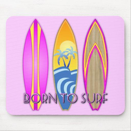Rosa llevado para practicar surf alfombrillas de raton