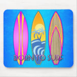 Rosa llevado para practicar surf alfombrilla de ratón