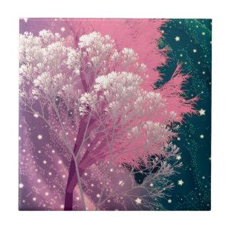 rosa loco de los árboles azulejo ceramica