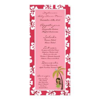 Rosa Luau hawaiano de 25 tarjetas del menú tropica Lona Publicitaria