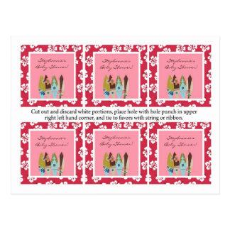 Rosa Luau hawaiano de 6 etiquetas del favor tropic Tarjeta Postal