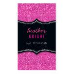 Rosa magenta del negro glamoroso del brillo de la tarjetas de visita