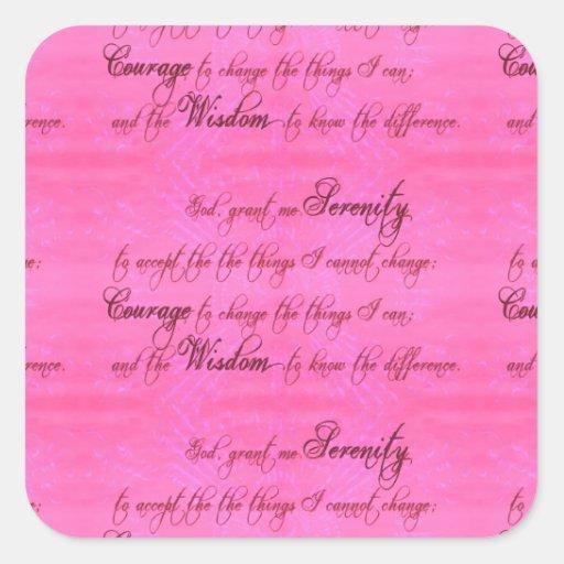 Rosa magenta del rezo de la serenidad pegatina cuadradas personalizadas