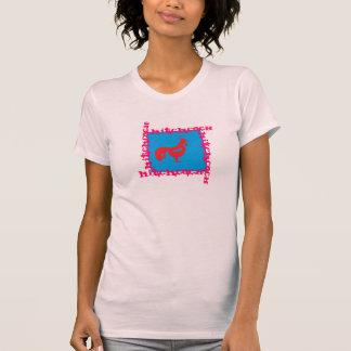 Rosa/magenta/trullo de la camiseta de las señoras