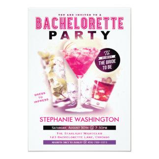 """Rosa Martini del fiesta de Bachelorette y cócteles Invitación 5"""" X 7"""""""
