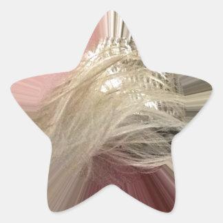 Rosa melenudo pegatina en forma de estrella