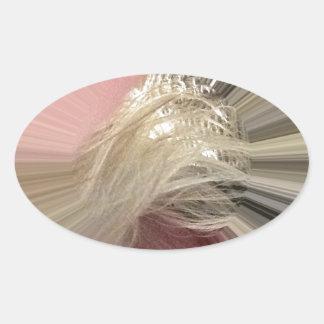 Rosa melenudo pegatina ovalada