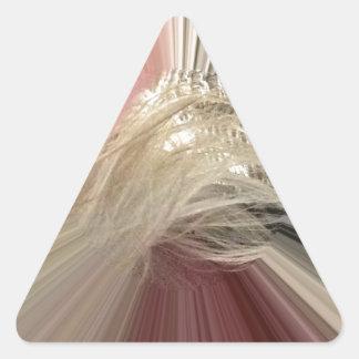 Rosa melenudo pegatina triangular