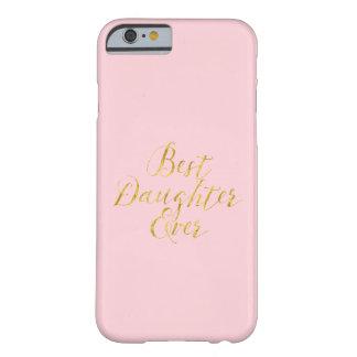 Rosa metálico del mejor de la hija nunca brillo funda para iPhone 6 barely there