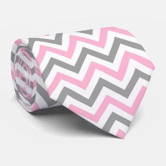Rosa, modelo de zigzag grande blanco gris de DK Corbatas Personalizadas