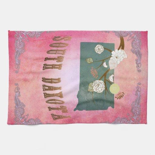 Rosa moderno del caramelo del mapa del estado de D Toallas
