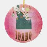 Rosa moderno del caramelo del mapa del estado de adorno de navidad