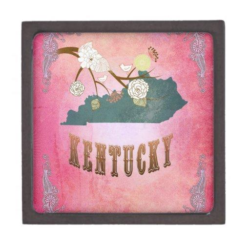 Rosa moderno del caramelo del mapa del estado de K Cajas De Joyas De Calidad