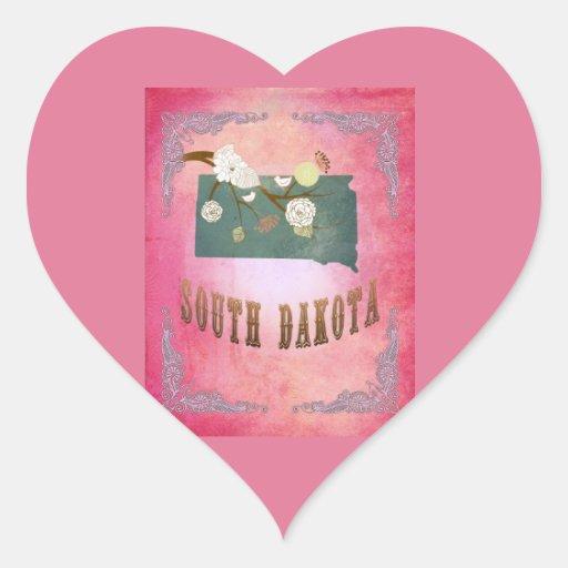 Rosa moderno del caramelo del mapa del estado de pegatina en forma de corazón